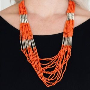 Cascading Orange Seed Bead Necklace Earring NWT